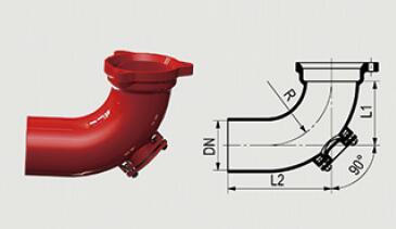 铸铁<em style='color:red'>排水</em>管<em style='color:red'>管件</em>-90°门弯头图片